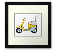 Yellow scooter delivery cute art illustration Framed Print
