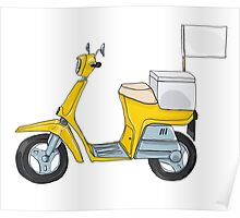 Yellow scooter delivery cute art illustration Poster