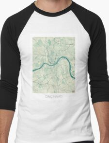 Cincinnati Map Blue Vintage Men's Baseball ¾ T-Shirt