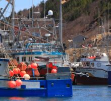 Fishing boats are moored in harbor ready for long weekend Sticker