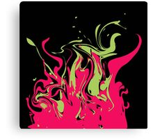Bright pink and green colored splashes in abstract shape on black background Canvas Print