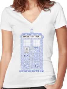Doctor Who Typography Tardis Women's Fitted V-Neck T-Shirt