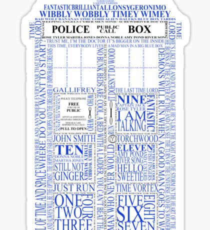 Doctor Who Typography Tardis Sticker