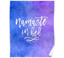 Namaste in Bed Blue Purple Watercolor Typography Quote Poster