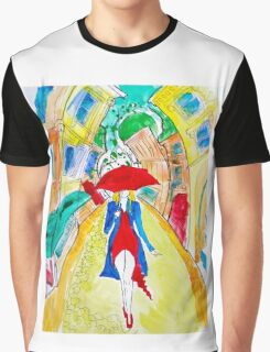 Abstract Woman in Red Graphic T-Shirt