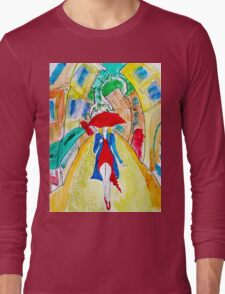 Abstract Woman in Red Long Sleeve T-Shirt