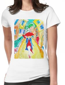 Abstract Woman in Red Womens Fitted T-Shirt