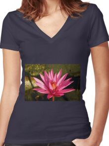 Lotus Flower in the Nature Women's Fitted V-Neck T-Shirt