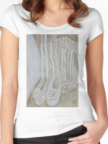 White corset Women's Fitted Scoop T-Shirt