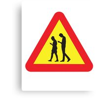 Cell Phone Crossing Warning Road Sign Canvas Print