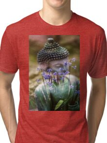 Buddha with Flower Asia Blooms Tri-blend T-Shirt