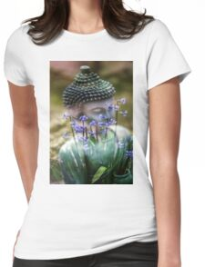 Buddha with Flower Asia Blooms Womens Fitted T-Shirt
