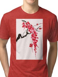 Pink flowers of sakura  Tri-blend T-Shirt