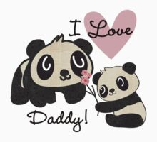 Kids Panda Bears I Love Daddy Kids Tee