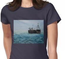 Blue Seascape (Oil Painting) Womens Fitted T-Shirt