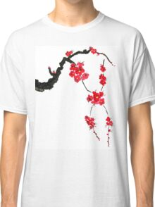 Red blossoming flowers of cherry Classic T-Shirt