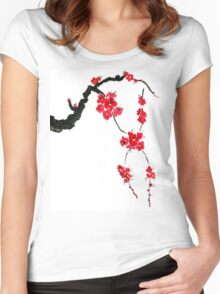 Red blossoming flowers of cherry Women's Fitted Scoop T-Shirt