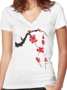 Red blossoming flowers of cherry Women's Fitted V-Neck T-Shirt