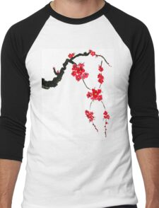 Red blossoming flowers of cherry Men's Baseball ¾ T-Shirt