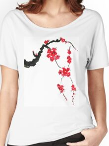 Red blossoming flowers of cherry Women's Relaxed Fit T-Shirt