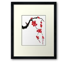 Red blossoming flowers of cherry Framed Print