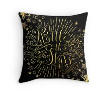 Rattle The Stars - in Gold Foil Throw Pillow