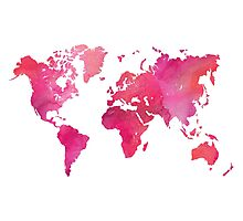 Pink Watercolor Texture World Map Photographic Print
