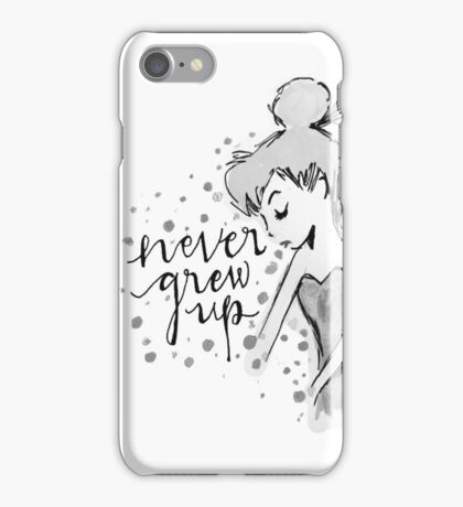 Never Grew Up Tink BW iPhone Case/Skin
