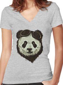Punk Panda Women's Fitted V-Neck T-Shirt