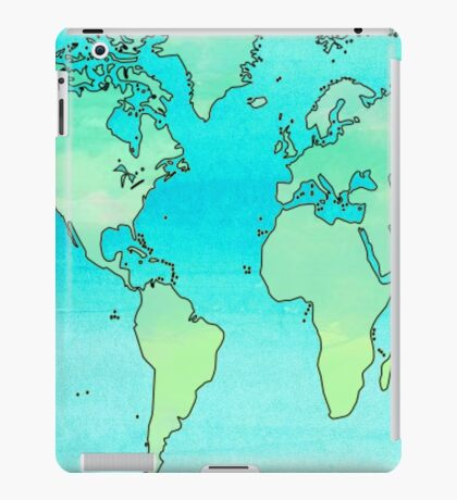 Water Color World Map iPad Case/Skin