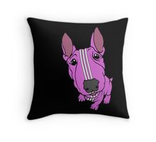 Sporty Bull Terrier Pink and White Throw Pillow