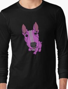 Sporty Bull Terrier Pink and White Long Sleeve T-Shirt