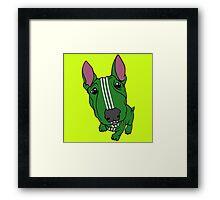 Sporty Bull Terrier Green and White Framed Print