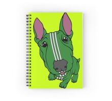 Sporty Bull Terrier Green and White Spiral Notebook