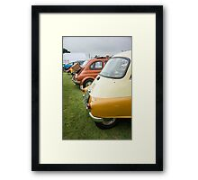 Rear View of Several Classic Cars in a Line Framed Print