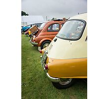 Rear View of Several Classic Cars in a Line Photographic Print