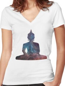 Buddha Nebula Women's Fitted V-Neck T-Shirt