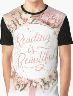 Reading is Beautiful floral wreath Graphic T-Shirt