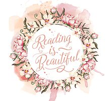Reading is Beautiful floral wreath Photographic Print