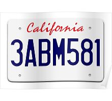 Mr Wolf license plate: California 3ABM581 Poster