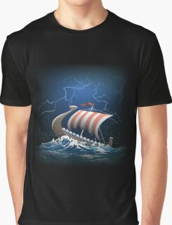 Drakkar in a stormy sea Graphic T-Shirt
