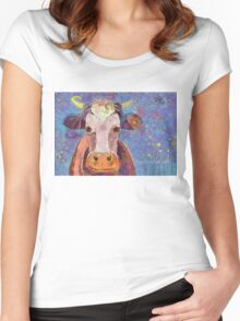 THE COW WITH THE CRUMPLED HORN Women's Fitted Scoop T-Shirt