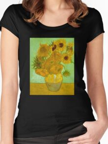 'Twelve Sunflowers' by Vincent Van Gogh (Reproduction) Women's Fitted Scoop T-Shirt