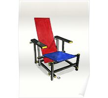 The Red And Blue Chair - Watercolor Painting Poster
