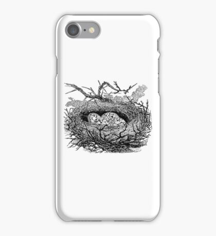Vintage Bird Nest with Eggs Illustration Retro 1800s Black and White Birds Egg Image iPhone Case/Skin