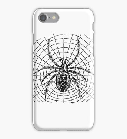 Vintage Halloween Spider and Web Illustration Retro 1800s Black and White Bug Spiders Image iPhone Case/Skin
