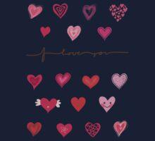 hearts (iphone case + tshirt + sticker) One Piece - Short Sleeve