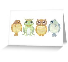 Fish Frog Owl Fish Greeting Card