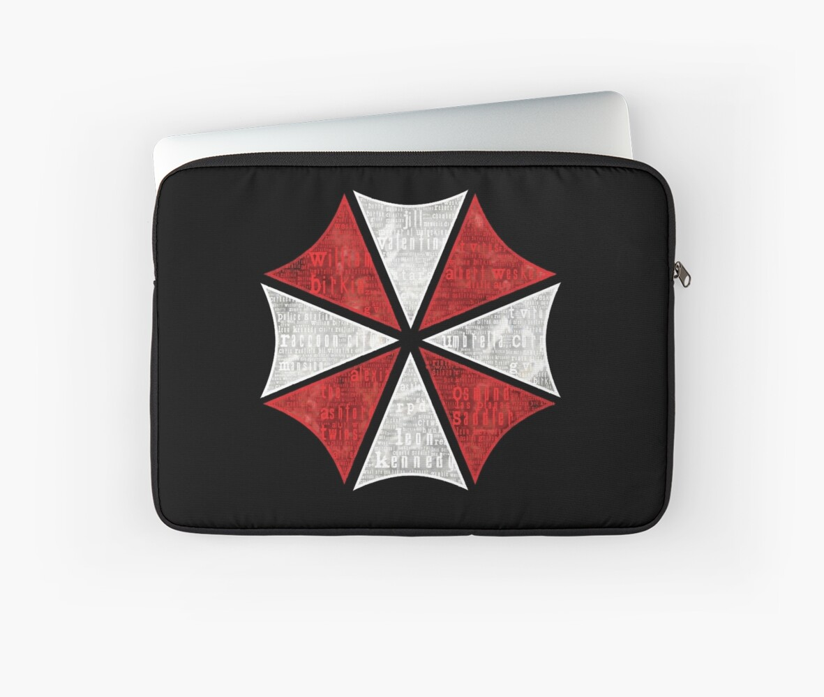 Resident Evil Umbrella Typography Laptop Sleeves By