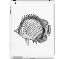 Vintage Marine Wandering Chaetodon Fish Illustration Retro 1800s Black and White Image iPad Case/Skin